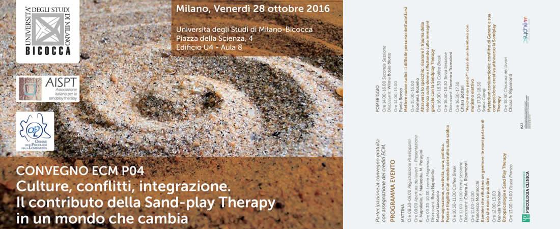 AISPT - Convegno Ecm P04 Culture Conflitti Integrazione - Pieghevole Sandplay - Bicocca - 28/10/2016